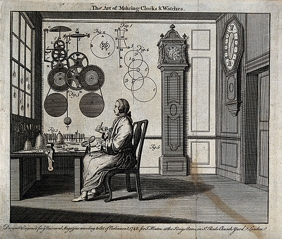 Clocks;_a_watch-maker_seated_at_his_workbench_with_a_long-ca_Wellcome_V0023855.jpg